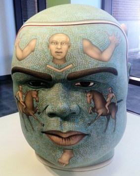 """Fiery,"" 2009, stoneware, stain, glaze, 25.75 x 19,5 x18"". Collection of Arizona State University Art Museum."