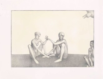 """""""Stuck in the Middle,"""" 2003, intaglio, siligraphy, image: 16 x 24"""", paper: 22.5 x 30""""."""