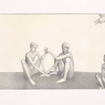 """Stuck in the Middle,"" 2003, intaglio, siligraphy, image: 16 x 24"", paper: 22.5 x 30""."