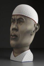 """""""Man,"""" 2009, stoneware, stain, glaze, 27.5 x 23 x 13""""."""