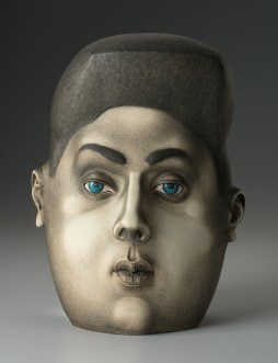 "Sergei Isupov, ""Sound in the Head"" 2018, stoneware, 12.5 x 9.5 x 8""."