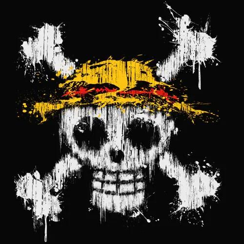 Tshirt One Piece  Tte de mort et chapeau de paille de Dluffy