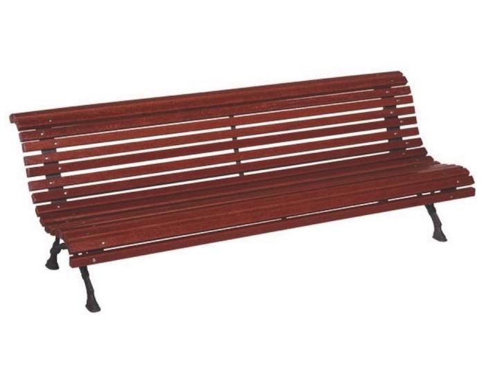 banco para jardin modelo romantico de tablillas madera tropical de dos metros