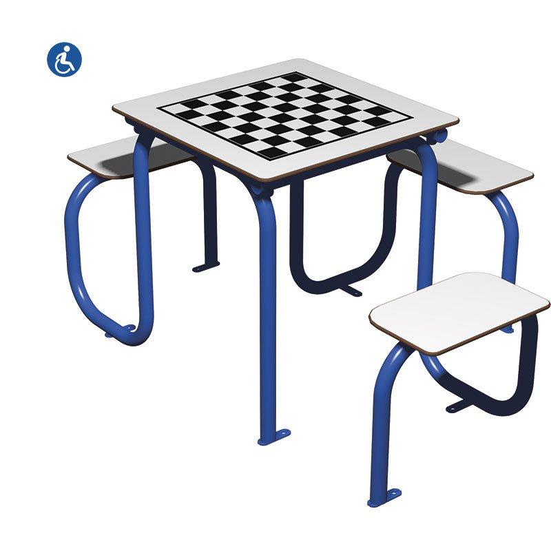 mesa de juego inclusiva para exterior