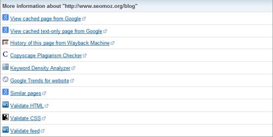 Herramientas SEO: Site Information Tool information