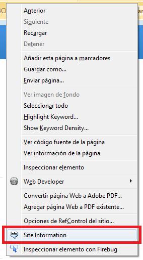 Site Information Tool en Firefox Herramientas SEO
