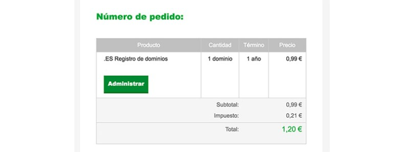 Factura dominio godaddy