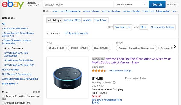 Amazon Echo en Ebay