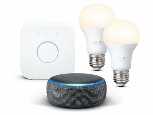 Amazon Echo Spot con bombillas inteligentes Philips Hue