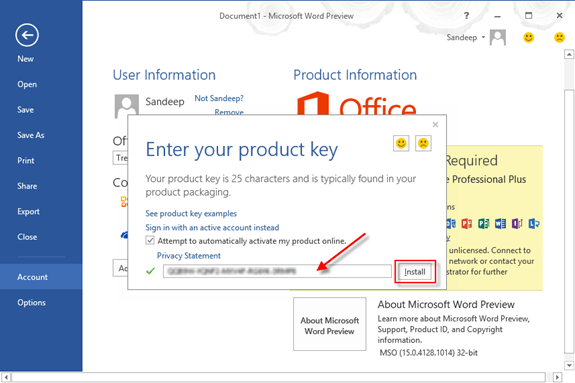 product key ms office 2015