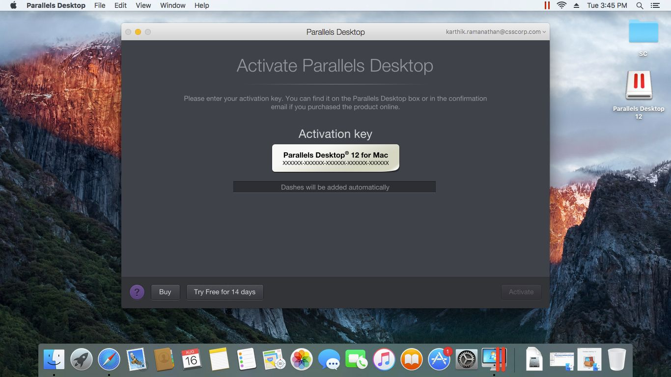 activation key parallels desktop 15 for mac
