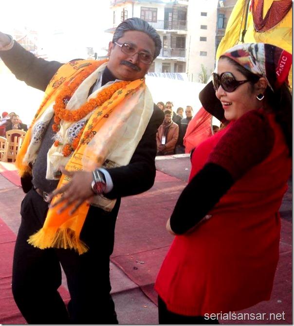 Ghanshyam Gautam as Prachanda dances with fake Rekha Thapa