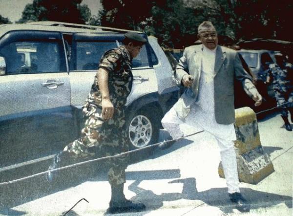 minister bamdev gautam jumping road divider