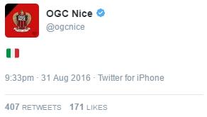 Tweet du compte de Nice