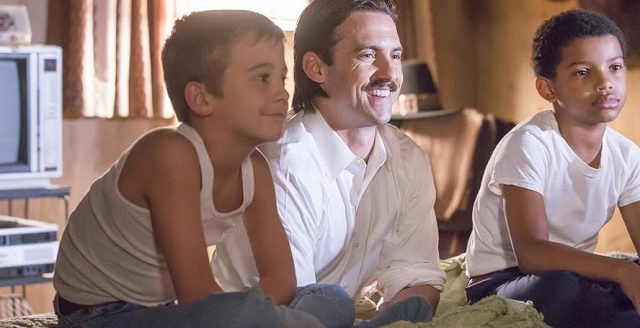 "THS IS US -- ""Pilgrim Rick"" Episode 108 -- Pictured: (l-r) Parker Bates as 8 year old Kevin, Milo Ventimiglia as Jack, Lonnie Chavis as 8 year old Randall -- (Photo by: Ron Batzdorff/NBC)"