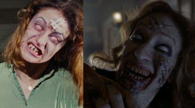 Ellen Sandweiss em Evil Dead, 1981 (esquerda) e em Ash vs Evil Dead, 2016 (direita)