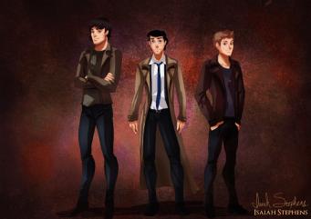 Eric, Floria y El Principie Encantado como Sam, Castiel y Dean de Supernatural.