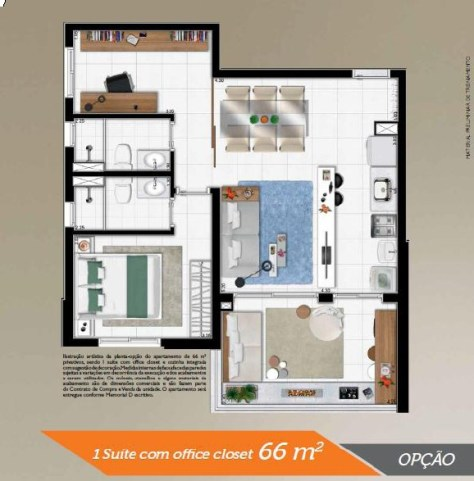 Planta 66 m2 com Office - Viaza 400