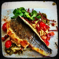 Seabass with a pesto risotto