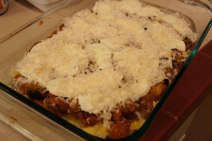 Polenta Torta with Eggplant Sauce