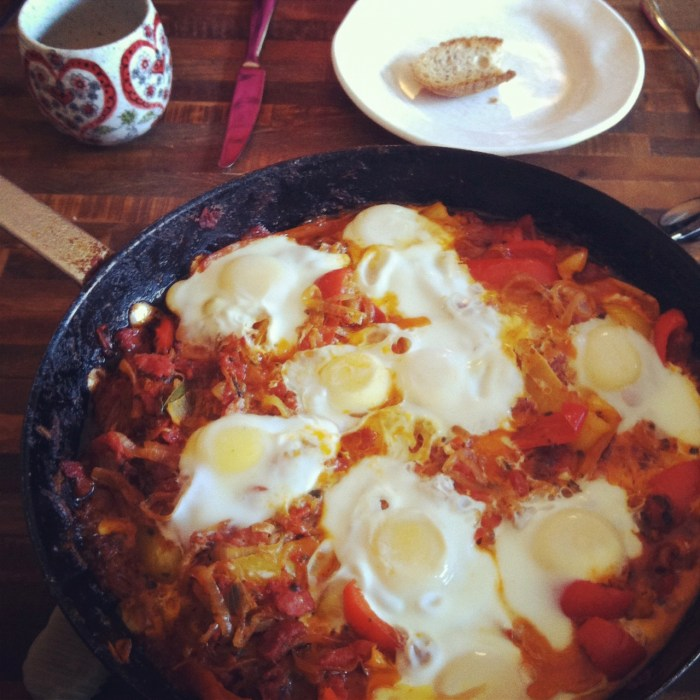 Shakshuka for breakfast! Looks amazing.