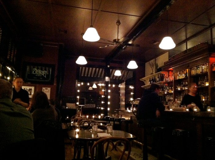 The lovely dining room at Besaw's, feeling cozy and warm.