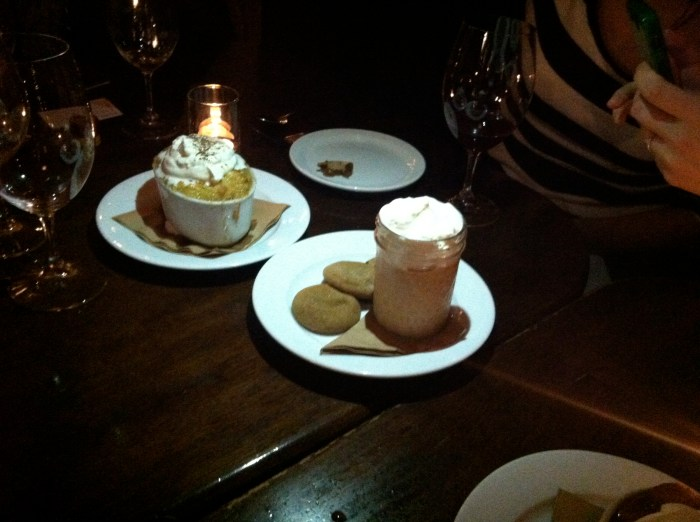 Besaw's Butterscotch pudding (in a cute little jar) served with molasses cookies and seasonal bread pudding (this one had lots of rosemary and was very fragrant).