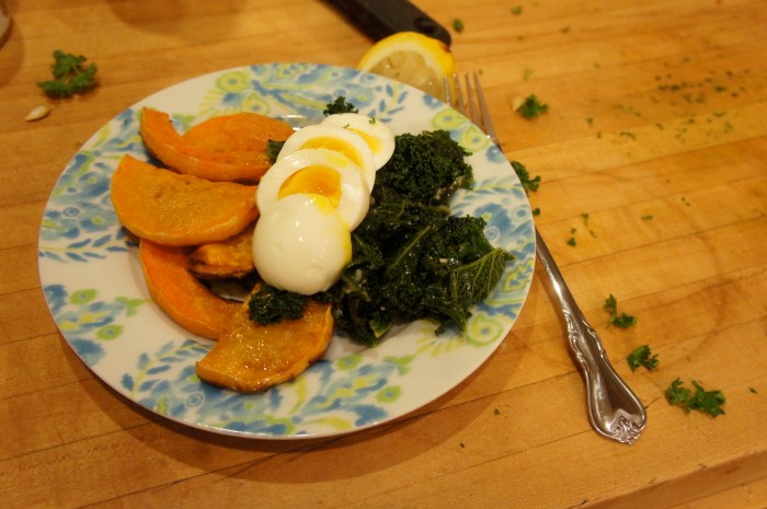 Kale, squash, and a runny yolk