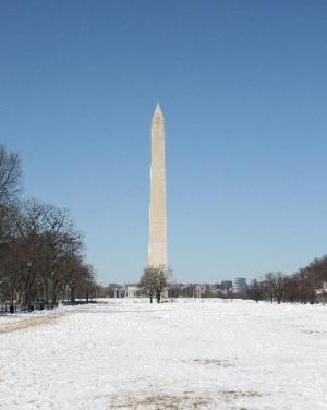 The Washington Monument in snow? Or a congressperson lying on a his back and Instagraming a selfie? You decide.