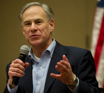 "Gov. Greg Abbott, seen here in between sessions of furious masturbation watching ads for ""Texas Rising,"" a TV event coming to History this Memorial Day. Check your local listings."