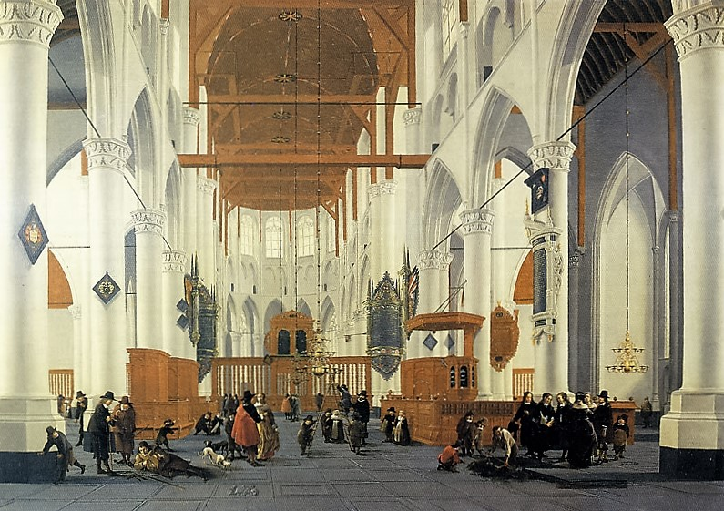Painting of inside of St Laurens Church in the 17th Century