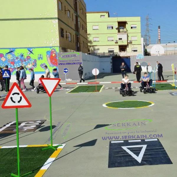 Rotonda Césped Artificial en Circuito Educación Vial