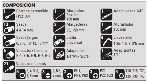 """Juego Vasos 1/4"""" 58 piezas composicion"""