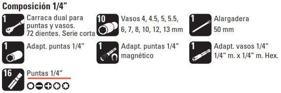 """Mini Juego de Llaves de Vaso de 1/4"""" 31 piezas composicion"""