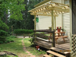 cute picnic table under pergola