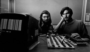 Two Steves with Apple-I prototype, 1975
