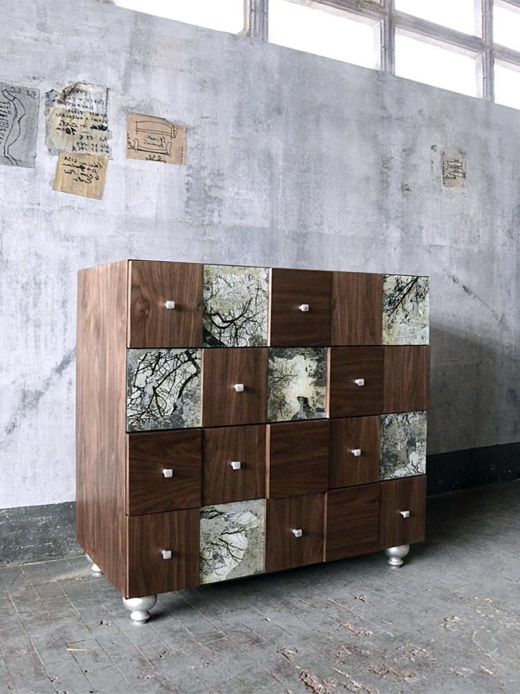 Proyecto Mueble Funcional Diseño De Mobiliario A Medida: Mueble De Cajones De Diseño Nogal, Craquelado Y Pan De