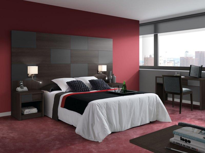 Cabecero alto dormitorio principal plomo y wengue apliques - Apliques habitacion ...