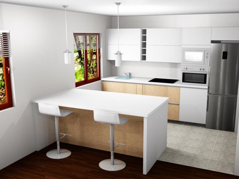 Cocina con barra abierta al salón comedor – Reformas y Decoración de ...