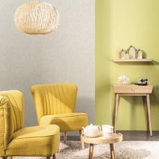 Papel pintado beige y verde pistacho irisado no tejido TRIO