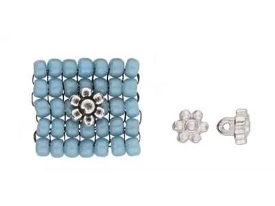 AMOUDI 8/0 - insertie floare 6mm pentru bijuterii, placata cu argint antichizat