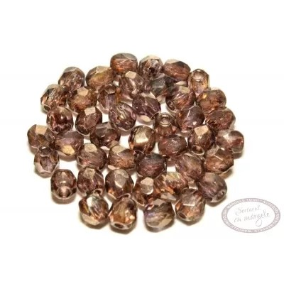 Margele Fire Polish 3mm : Luster - Transparent Gold/Smoky Topaz, 80 buc