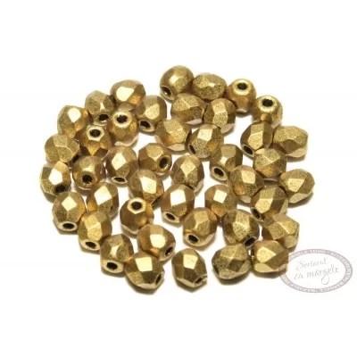 Margele Fire Polish 3mm : Matte - Metallic Aztec Gold, 80 buc