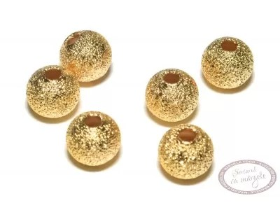 Margea metalica Stardust rotunda, 6mm, placata cu aur