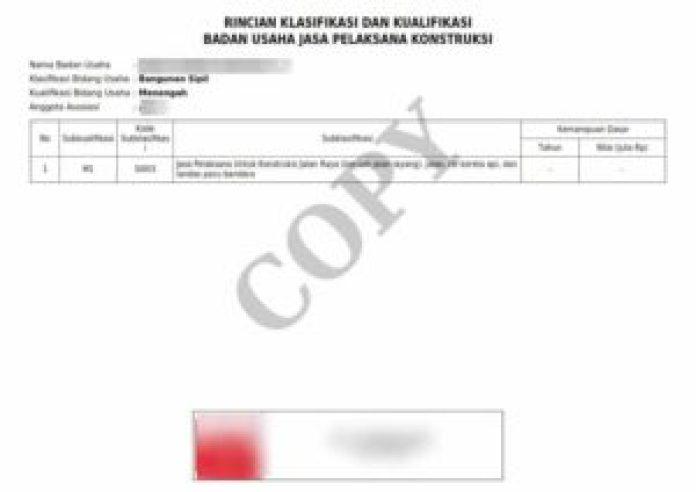 Jasa Pengurusan SBU Jakarta Bandung Surabaya Lampiran SBU (Tampak Belakang)