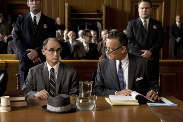 Tom Hanks is Brooklyn lawyer James Donovan and Mark Rylance is Rudolf Abel, a Soviet spy arrested in the U.S. in the dramatic thriller BRIDGE OF SPIES, directed by Steven Spielberg.
