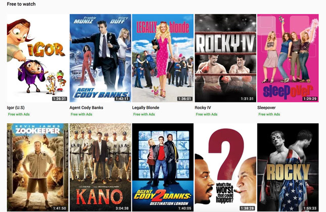 YouTube now offers free, ad-supported streaming Hollywood movies