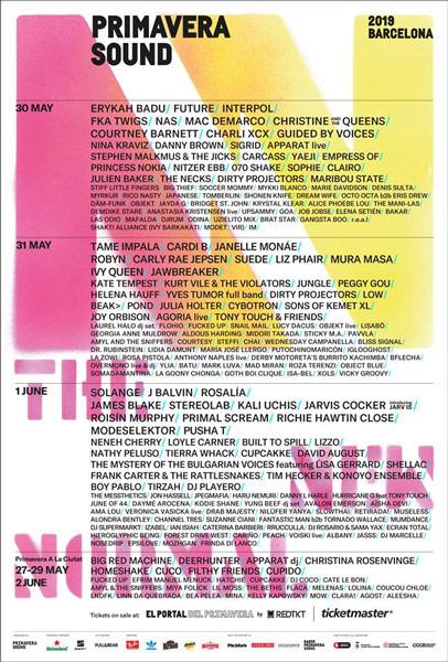 Primavera Sound 2019 Poster, Bilet, İspanya Festival Detaylar Kadrosu Video