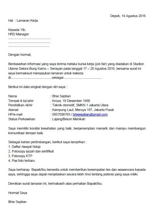 Contoh Surat Lamaran Kerja untuk Job Fair