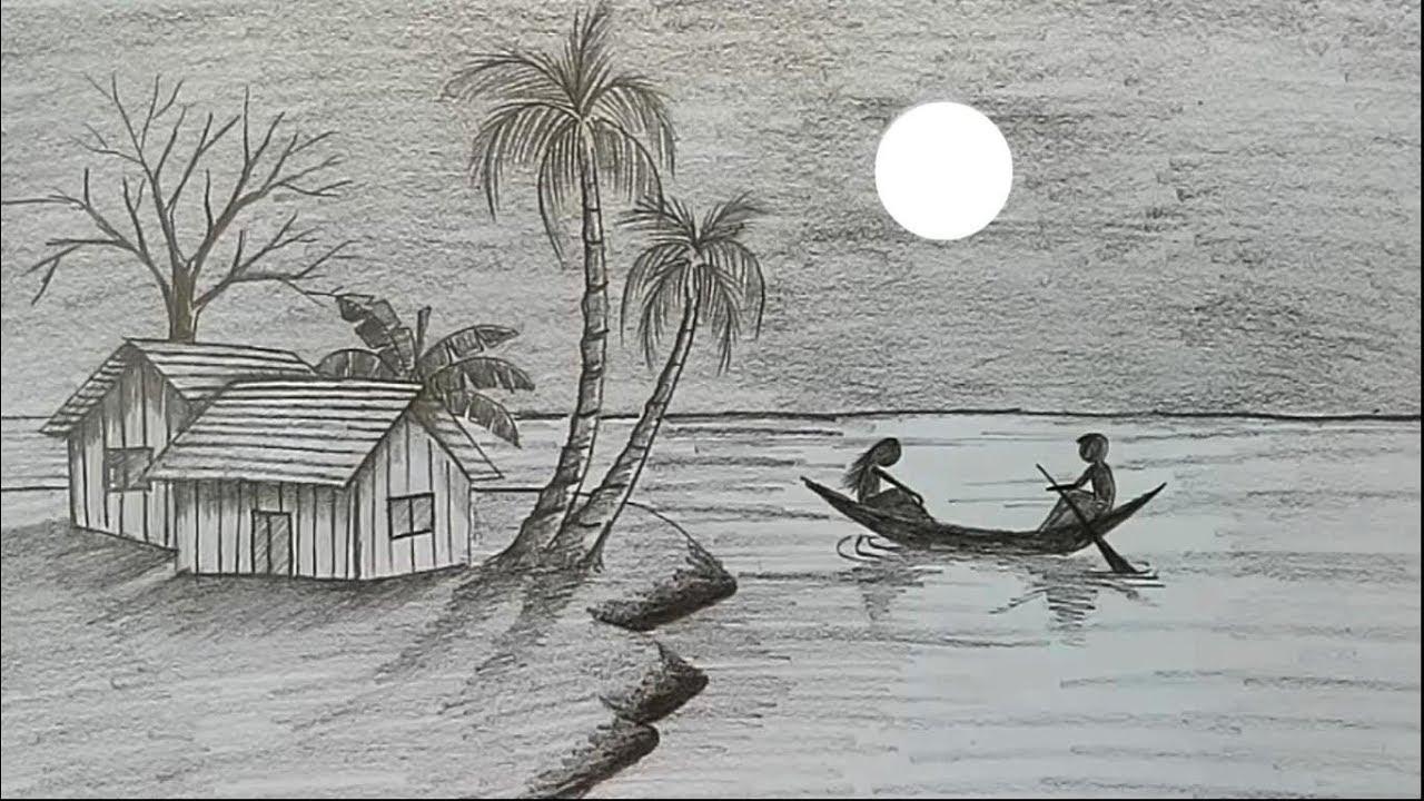12 Contoh Lukisan Pemandangan Alam Paling Indah Dengan